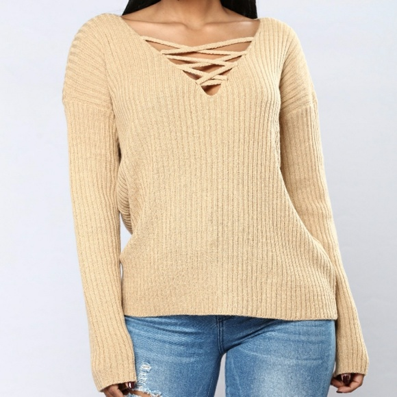 New lace up v neck sweater fff36f014
